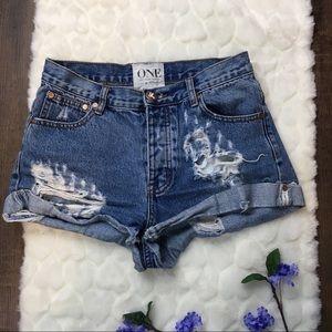 ONE Teaspoon Medium wash distressed denim shorts